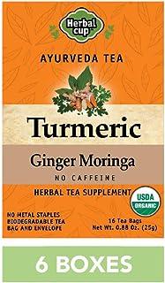 HERBAL CUP TEA TURMERIC GINGER MORINGA - 6 Pack, 96 Tea Bags Total ORGANIC