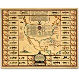 1935 Salt Water Game Fish of North America Map - 11x14 Unframed Print - Great Vintage Decor and Gift for Fishermen Under $15