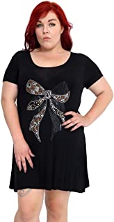 GirlzWalk Women Bow Lace Stud Hanky Hem Top Plus Size 10-24