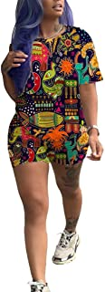 Short Set Outfit for Women - Casual Sport 2 Piece Short Sleeve Print Top Bodycon Short Pants Set