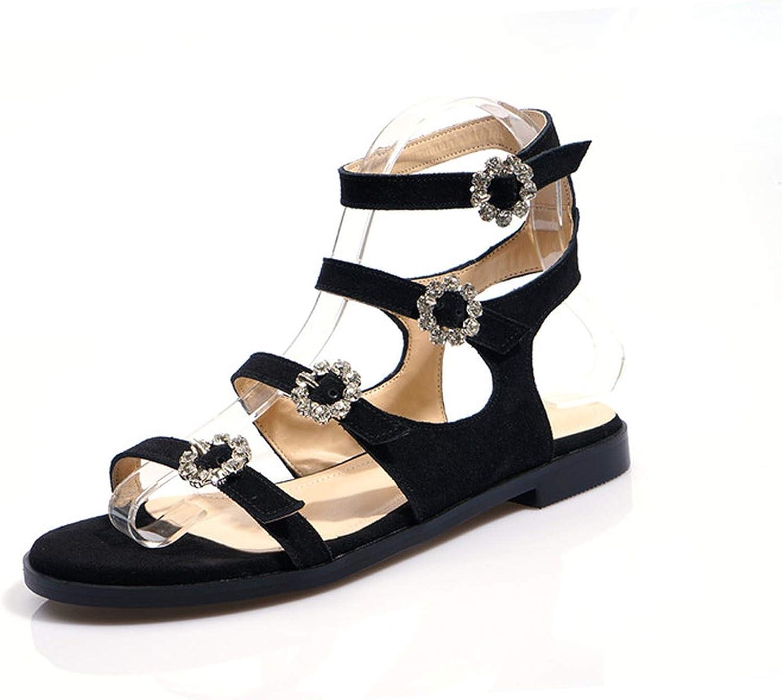 YuJi Women Gladiator Sandals Rhinestone Buckle Flat shoes Cow Suede Flower Open Toe Sandals,Black,10