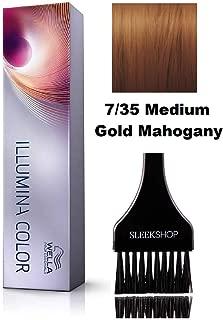 Wella ILLUMINA Permanent Creme Haircolor Dye (with Sleek Tint Brush) Sheer Light Cream MicroLight Hair Color (7/35 Medium Gold Mahogany)