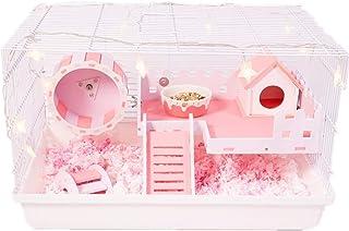 ハムスターケージ 飼育ケージ オシャレ ハムスターハウス 掃除しやすい 滑り止め贅沢セット 三色 ハムスター回し車 可愛い プラスチックと金属製 通気性 見える ピンク