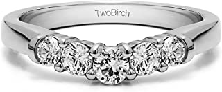 Diamonds (G-H,I2-I3) Contoured Wedding Ring In Sterling Silver(0.19Ct) Size 3 To 15 in 1/4 Size Interval