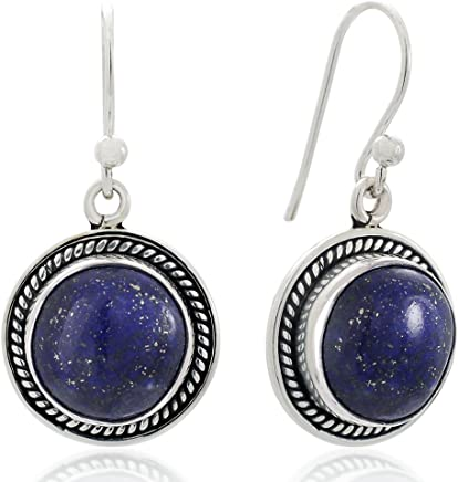 """925 Oxidized Sterling Silver Natural Gemstone Round Shaped Rope Edge Dangle Hook Earrings 1.2"""""""