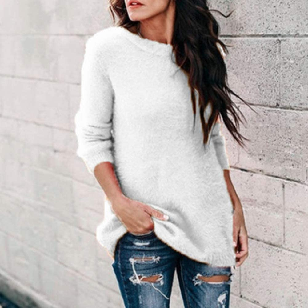 dSNAPoutof Women's Pullover-O Neck Casual Solid Color Long Sleeve Loose Knitted Plushy Soft Winter Autumn Cardigan Sweater for Daily Life Work Date Christmas Gift White XL