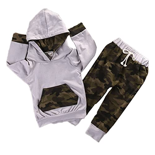 6defa48e0 Newborn Infant Baby Boy Girls Camouflage Clothes Hooded T-Shirt Tops+Pants  Outfits