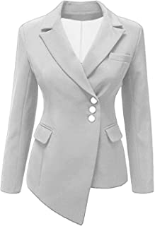 Autumn Blazer Women Coat Solid Irregular Long Sleeve V-Neck Blazer Suits Casual Slim Blazers
