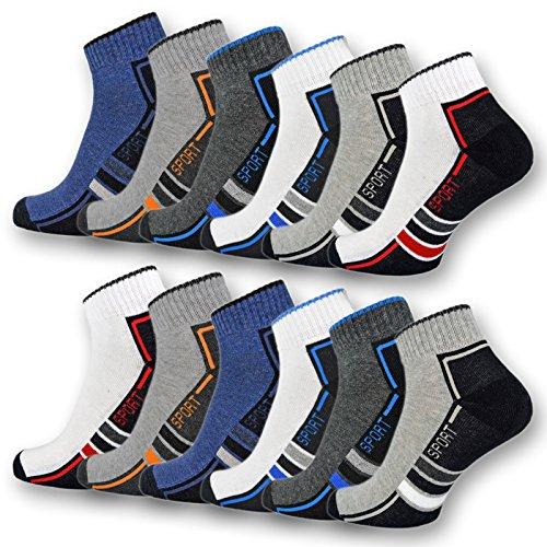 6 oder 12 Paar SPORT Sneaker Socken Herren mit verstärkter Frotteesohle Sportsocken Baumwolle - 16215/20 (43-46, 12 Paar | Farbmix)