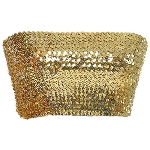 Anna-Kaci Womens Shiny Sequin Party Cropped Strapless Bandeau Stretch Tube Top, Gold, Small - Medium