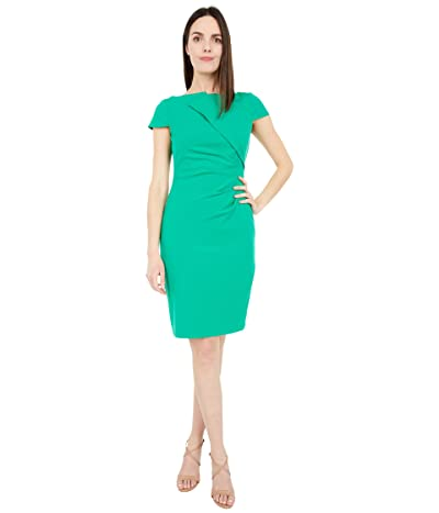 Vince Camuto Bi-Stretch Bodycon Dress with Cap Sleeve and Side Tuck (Green) Women