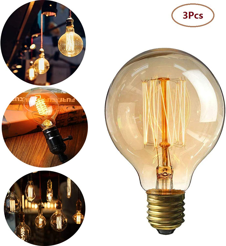 Lomire 3 Stück Edison Glühlampen Globe Vintage Glühbirne dekorative Lampe Filament Retro Dekoration für Haus Café Bibliothek Garten Warmwei G80 40 W 220 V 3pcs