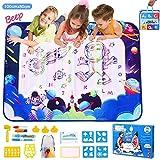 CGBOOM Aqua Doodle Mat, Doodle Alfombra Mágica 100 x 80cm, Pizarra Agua Dibujo Pintura con Bolígrafos Mágicos, Libro Mágico, Plantilla, Mochila de Almacenamiento, Juegos para Niños
