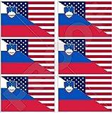 USA Vereinigte Staaten von Amerika und SLOWENIEN, Amerikanisch und Slowenische Flagge, Fahne 40mm Mobile, Handy Vinyl Mini Aufkleber, Abziehbilder x6 Stickers
