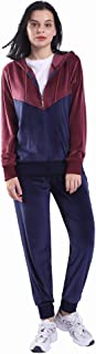 LeeHanTon Workout Sets for Women 2 Piece Velour Loungewear Sweatsuit Active Stripe Hoodie 2 Piece Tracksuit Set Navy Small