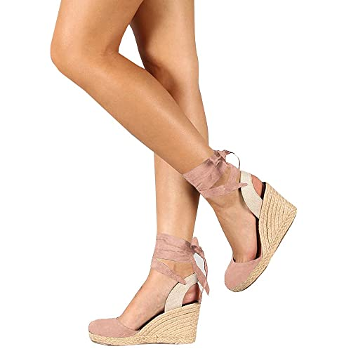 2a7817aab23 Syktkmx Womens Lace up Slingback Espadrille Platform Wedges Closed Toe  Color Block Ankle Wrap Sandals