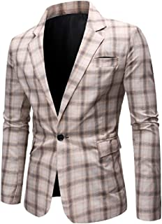 Men Premium Gentleman Classic Plaid Big & Tall One Button Blazer