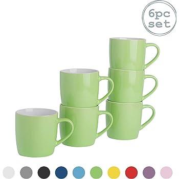 Set of 6 14oz Green Fine Stoneware Mugs