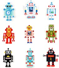 YOUOR 9 pcs Cute Robot Embroidery Patch Iron on Sew on Applique Badge