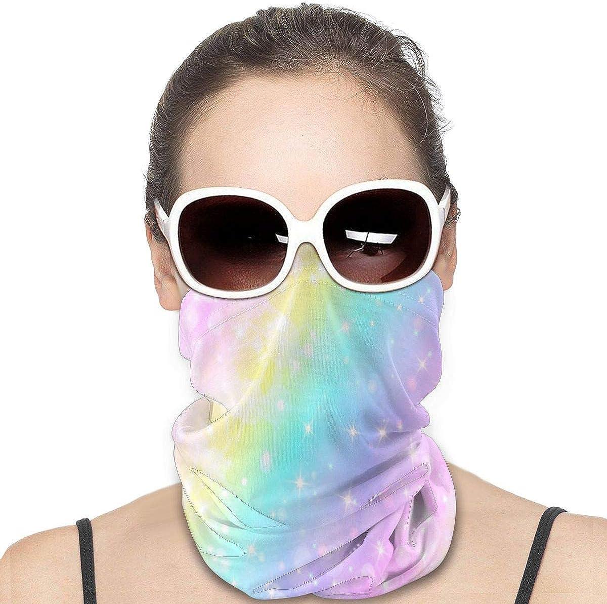 KiuLoam Women Bandanas Face Mask, Galaxy Fantasy Unicorn Color Neck Gaiter Mask Headband for Men Face Scarf Dust, Outdoors, Sports