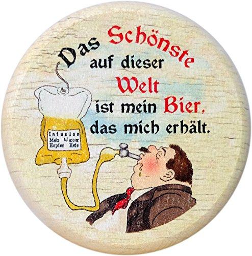 Kaltner Präsente Geschenkidee - Insektenschutz für Gläser und Getränke aus echtem Holz/Bier Wein Bierdeckel Biergläser Weingläser Biergarten/Motiv Bier Humor - Das Schönste