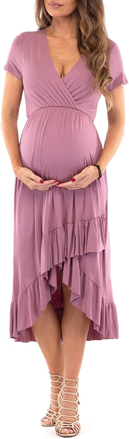 Womens Faux Wrap Hi-Lo Maternity Dress for Baby Shower or Casual Wear