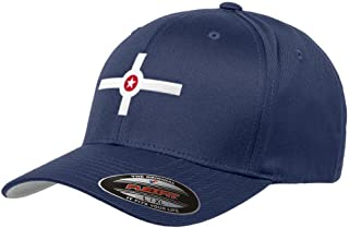 City of Indianapolis Hat Flexfit Premium Classic Yupoong Wooly Combed Hat Indiana Indy 6277 - L/XL/Navy Blue