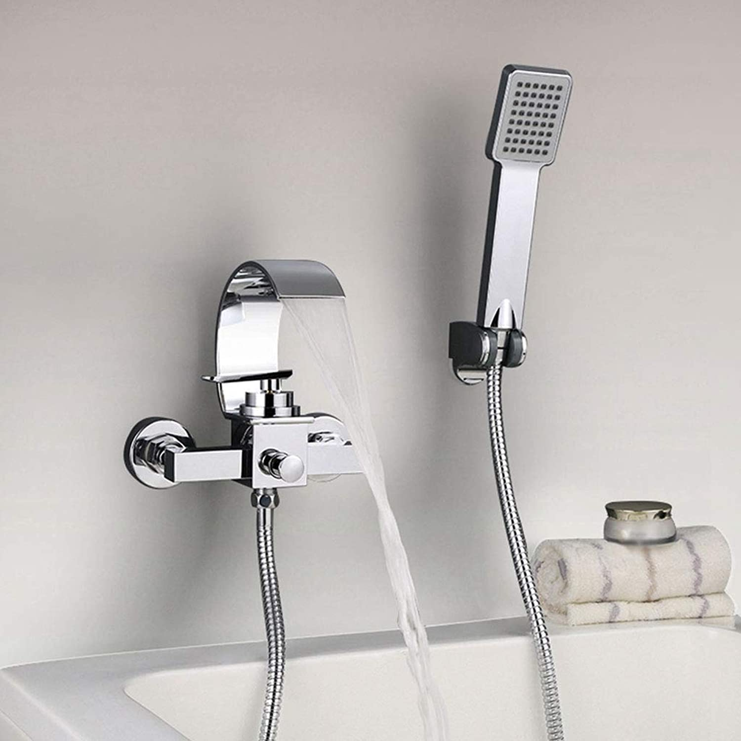 LXKY Faucet - waterfall wall-mounted, triple hot and cold single handle with shower hand-held chrome wall-mounted bathroom