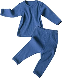 Baby Boys Girls Cotton Line Fall Winter Clothes Tee and Pants 2-Piece Pajama Set Solid Color Outfit