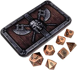 Antique Brass Metal Dice - Antique Brass Color with Black Numbers   Solid Metal Polyhedral Role Playing Game (RPG) Dice Set (7 Die in Pack) with Aweso