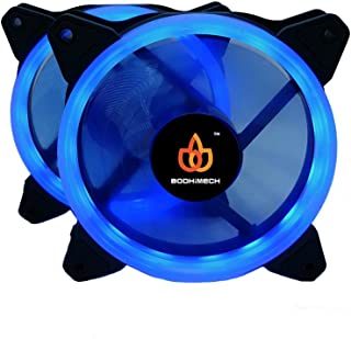 BODHiMECH 120mm Halo LED PC Cooling Silent Case Fan for PC Computer Case (2 Pack Blue)