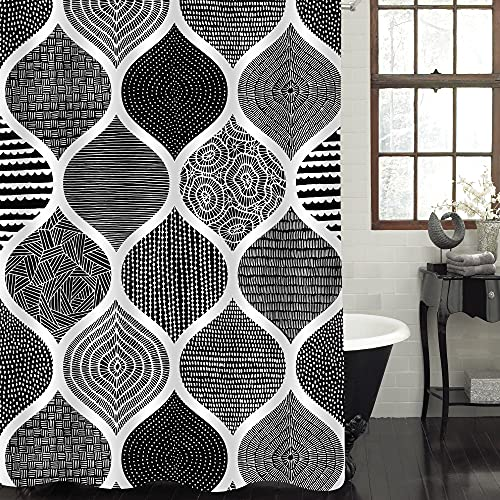 """MitoVilla Black Shower Curtain, Abstract Black and White Shower Curtain for Bathroom, Boho Chic Geometric Bathroom Shower Curtain, Waterproof Fabric Bath Curtain Sets with Hooks, 72"""" W x 72"""" L"""