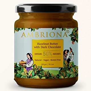 AMBRIONA - Hazelnut Butter with Mild Dark Chocolate (Vegan and Gluten Free) - 200 GMS (No Palm Oil) Contains Over 50% Haze...
