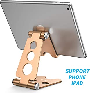 Cell Phone Stand,Foldable Cell Phone Stand,Nonslip Silicone Pads Multi-Angle Adjustable Desktop Cell Phone Stand Holder for Nintendo Switch, iPad, iPhone X 8 7 Plus, Galaxy S8(4-13 inch)-Golden
