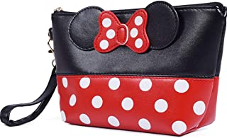 T-Juan MM Cartoon Leather Travel Makeup Handbag, Cute Portable Cosmetic bag Toiletry Pouch for Women Teen Girls Kids (Black)