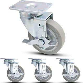 """Casoter 4"""" Top Plate Swivel Caster Metal Side Brake with Thermo Plastic Rubber (TPR) Heavy Duty Wheel, 1200 Lbs Total Capacity 4 Pack"""