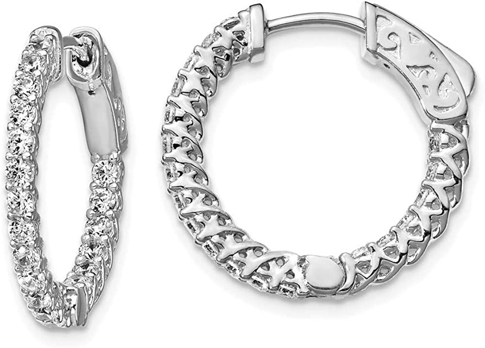Solid 925 Purchase Courier shipping free shipping Sterling Silver CZ Zirconia Earr Inside-Out Hoop Cubic