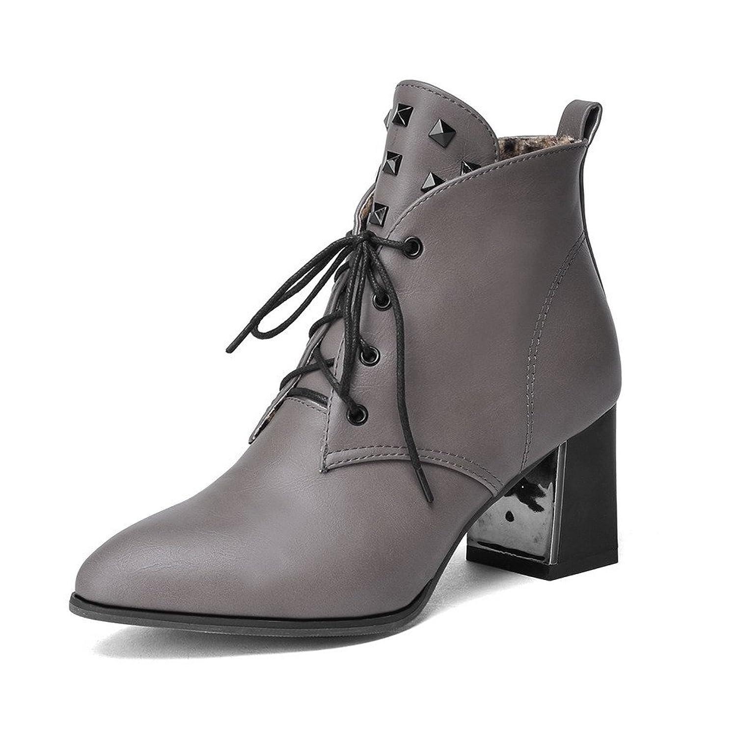 追放する一月反逆(ウンファッション) WeenFashion レディース PUの皮 ポインテッドトゥ 中ヒール レースアップ 純色 ブーツ