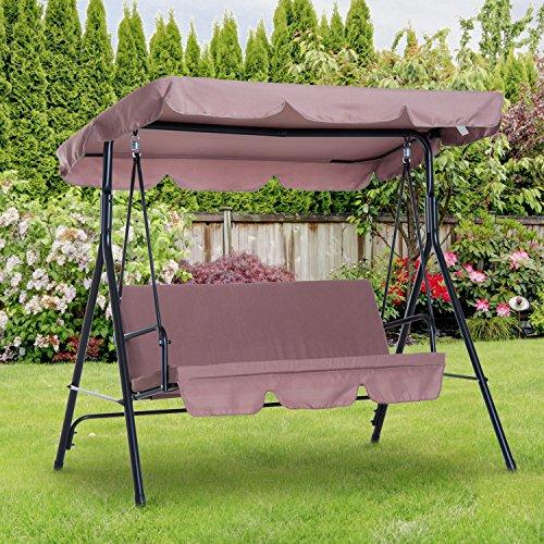 Outsunny Hollywoodschaukel Gartenschaukel Schaukelbank 3-Sitzer mit Dach Stahl Braun 172x110x152cm - 2