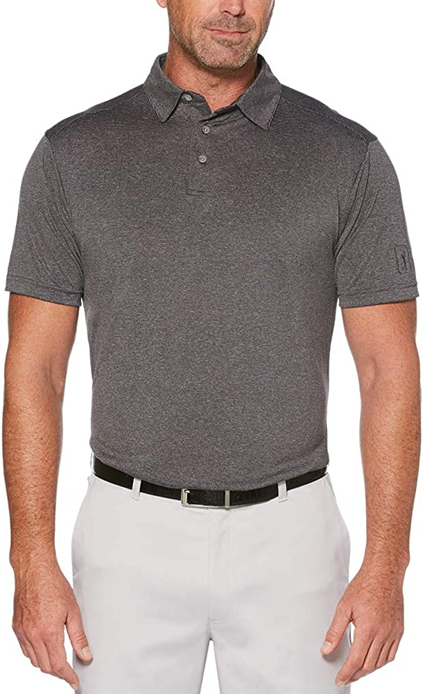 PGA TOUR Japan's largest assortment Men's low-pricing Short Sleeve Fine Dyed Line Yarn Polo Shirt