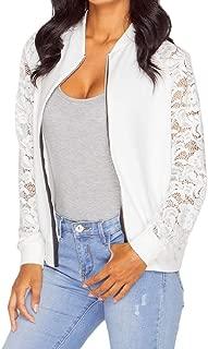 EnergyWomen Stitch Leisure Zip Oversize Lace Stand Collar Coat Jacket