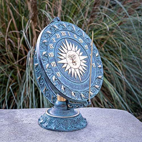 IDYL Outdoor Zeitmesser aus Bronze Sonnenuhr - hochwertig und auffällig  Nr. 0088   30 x 25 x 25 cm