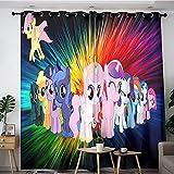 Decoración moderna para el hogar, sala de estar, impresión My Little Pony Art 1 par de cortinas opacas grandes para mantener el calor 132 x 183 cm