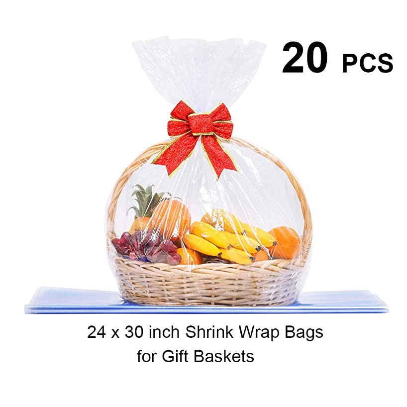 LazyMe Basket Cellophane Shrink Bags, 24x30 inch,?Shrink Wrap Bags Large, Clear (20)