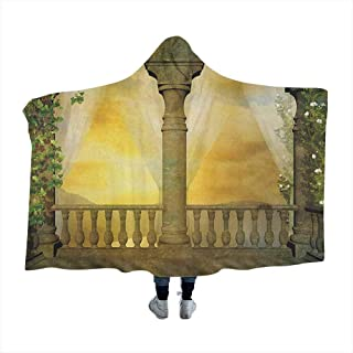 GGACEN Landscape Hooded Blankets Magical Mystical Balcony Fairytale with Floral Swirl Antique Ancient Design Art Print for Adults Teens Playing Games Chair Bedroom Multicolor 80x60 inches