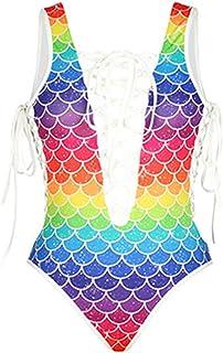 a02600e176c EWRCSSWA One Piece Swimsuit Print Swimming Suit for Women Bathing Suit Sexy  B Age Bodysuit Swimwear