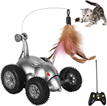 SlowTon Remote Cat Feather Toy, Mouse Shape Interactive Moving Automatic Robotic Rat Sound Chaser Prank Car for Kitten | S...