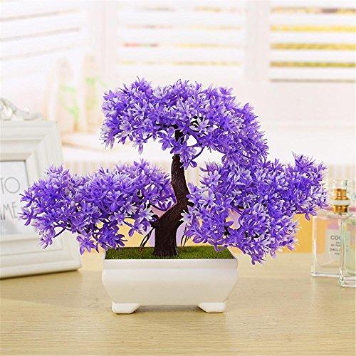 Cedro de bonsái artificial, pino acogedor emulado bonsái simulación flores artificiales decorativas falso verde maceta ornamentos decoración del hogar (morado)