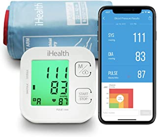 iHealth Track Wireless Blood Pressure Monitor Upper Arm with Wide Range Cuff, Bluetooth Blood Pressure Monitor Compatible for Apple & Android Devices, Automatic Blood Pressure Monitor, FDA Cleared