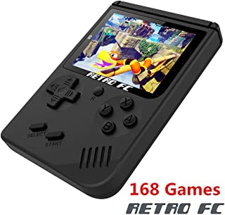 BAORUITENG Handheld Game Console, Retro FC Game Console,Video Game Console with 3 Inch 168 Classic Games (Black)